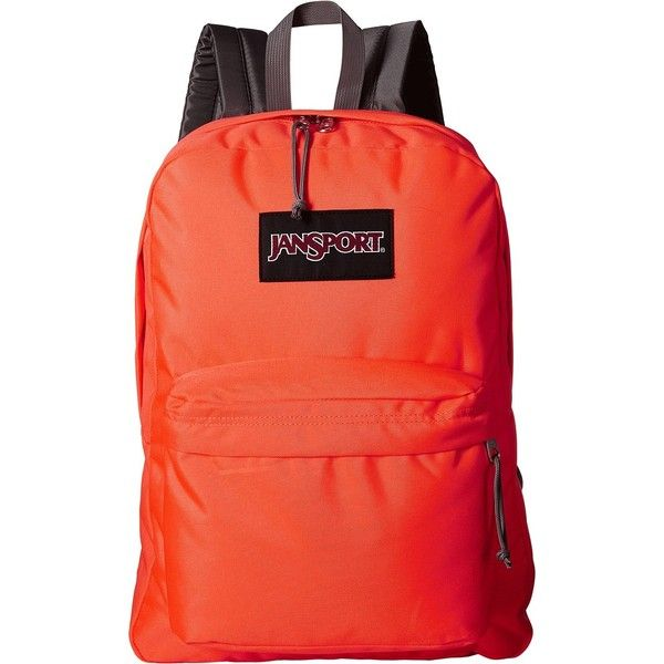 JanSport Black Label SuperBreak (Tahitian Orange) Backpack Bags ($28) ❤ liked on Polyvore featuring bags, backpacks and red