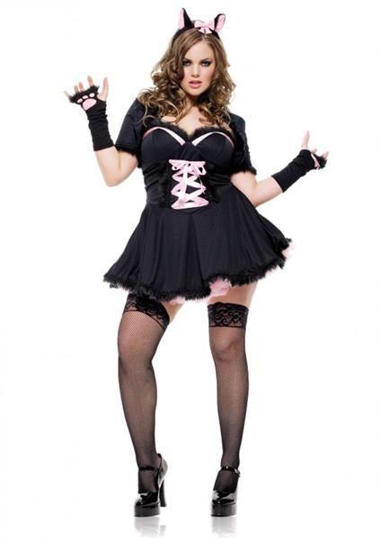 Костюм кошечки черный с розовой шнуровкой