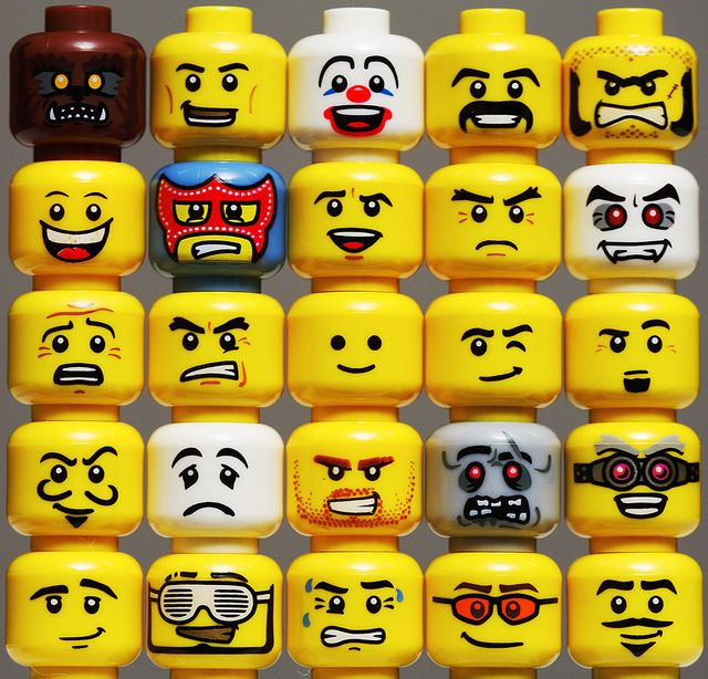 Lego figurine faces to draw on the face masks.