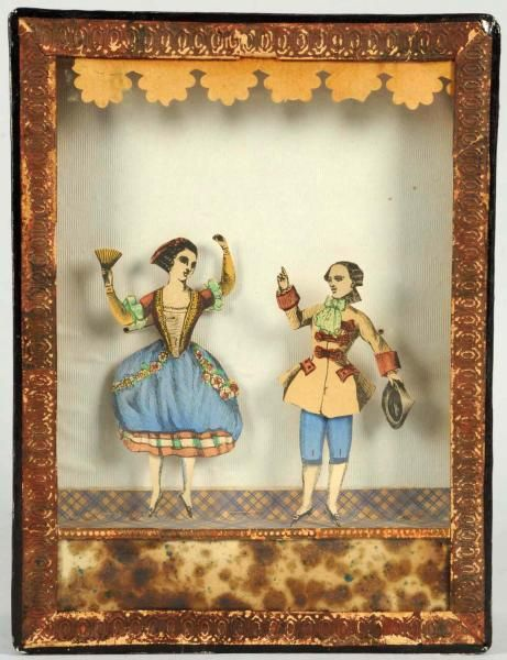 """Early Mechanical Paper Figure Dancing Toy.  European. A man and woman in Colonial type costumes. Paper figures dance up and down in a box with glass front.  Size 8"""" x 6 - 1/4""""."""