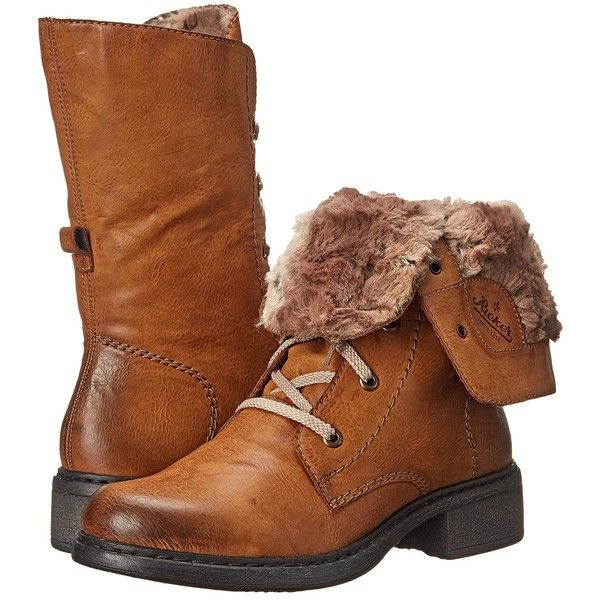 Rieker Y3220 (Cayenne Eagle/Braun Ferret) Women's Dress Boots ($72) ❤ liked  on Polyvore featuring shoes, boots, brown, mid-calf boots, faux fur boots,  ...