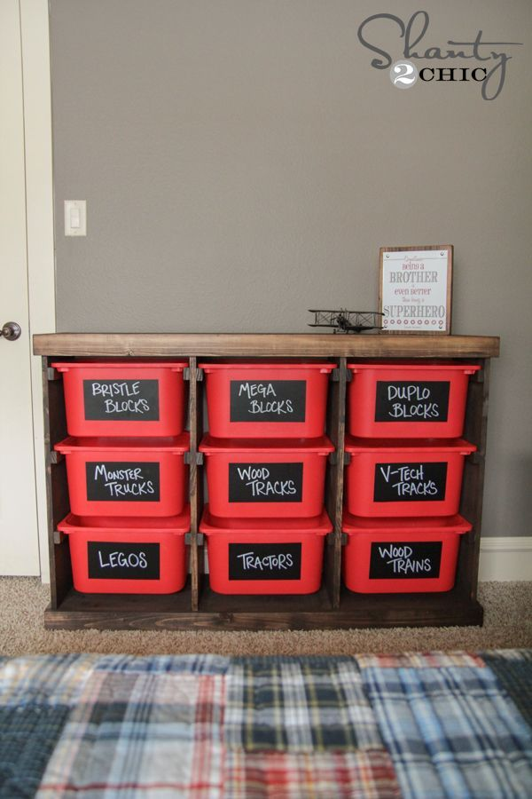 How to build this for storage bins!  Need in the garage for sports equipments!  DIY Toy Storage