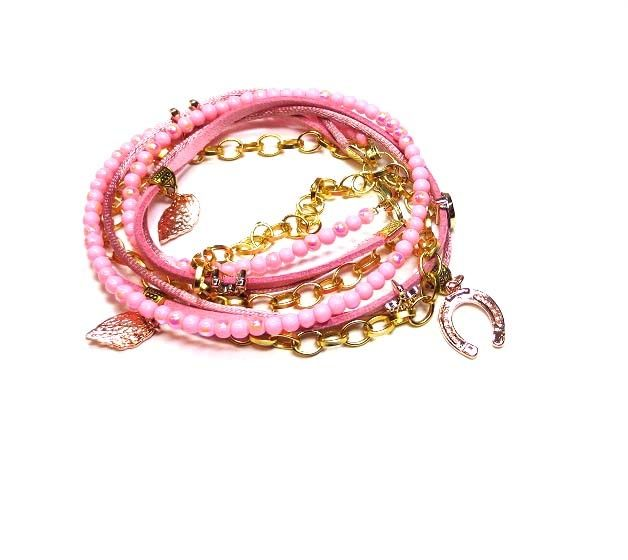 Armband Vintage pink www.beadscreations.nl