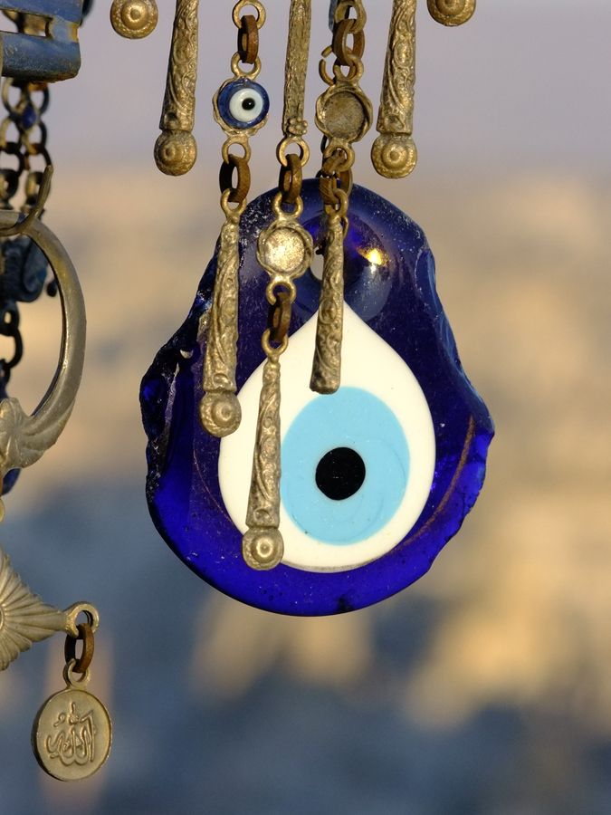"""the evil eye,Cappadocia,Turkey. In Turkey and Greece (possibly some other countries) this is considered a talisman that protects against """"the evil eye"""" (as in: envious, nefarious vibe-ish people)."""