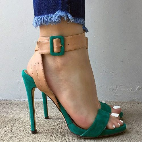 Contrast Ankle Strappy Heels