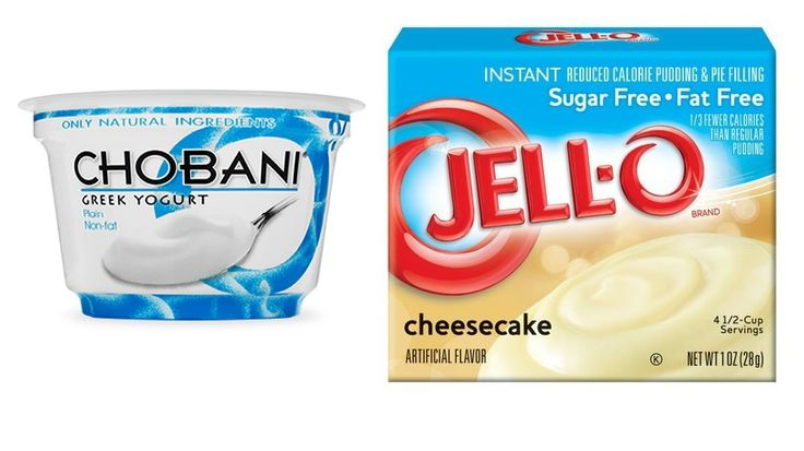 6 oz. Plain Fat Free Chobani + 1/2 Tbs. Sugar Free Jell-O Cheesecake Pudding Mix = Magic. All the amazing cheesecake taste with 116 calories, 18 g of protein, 7 g of sugar, and NO fat!