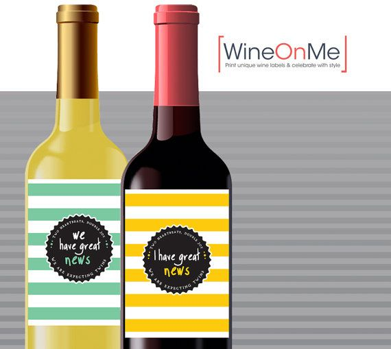 Twins pregnancy announcement wine label. Two by WineOnMe on Etsy