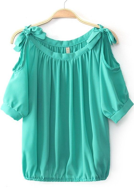 Want! Love the Bows and the Color! Teal Green Plain Bow Short Sleeve Chiffon Blouse #Teal_Green  #Bows #Cold_Shoulder #Summer #Beach #Fashion