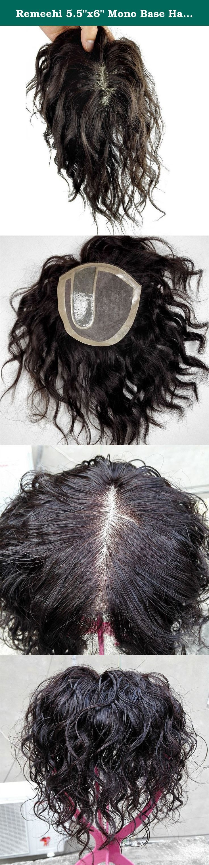 """Remeehi 5.5""""x6"""" Mono Base Hand Made Tied Human Hair Hair Topper Natural Curly Hair Top Piece Natural Black (25cm/9.8inch). Hair type:Remy Human Hair Texture: natural curly If you have any other question, please feel free to contact us. ."""