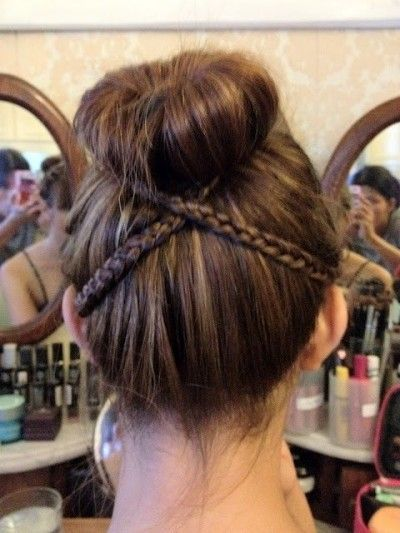 Sideways braids to step up your sock bun.