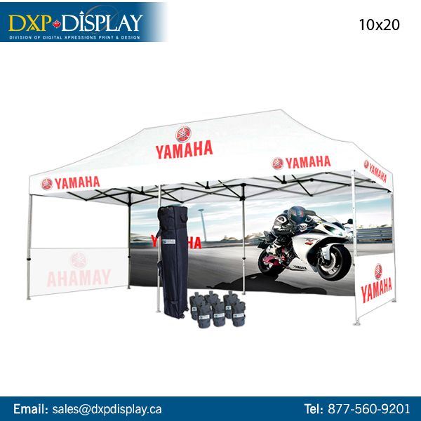 This Custom Printed Tent Package includes a color-printed roof with unlimited graphics, a fully-printed single-sided back, and 2 fully-printed single-sided half walls. Product is printed with high-quality color and dye-sublimation printing. The package is water resistant, UV coated, fire retardant, and comes in 10ft x 10ft, 10ft x 15ft, or 10ft x 20ft.