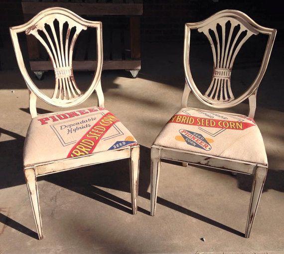 Pair of Vintage Pioneer seed sack Chairs by HayDayLiving on Etsy