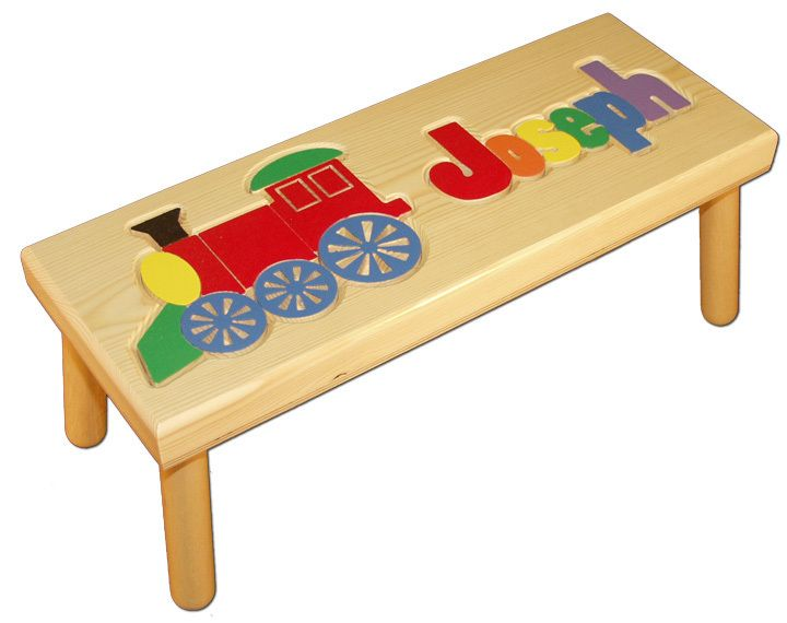 My Step Stool - Name and Train Puzzle Stool $109.99 (//  sc 1 st  Pinterest : train step stool - islam-shia.org