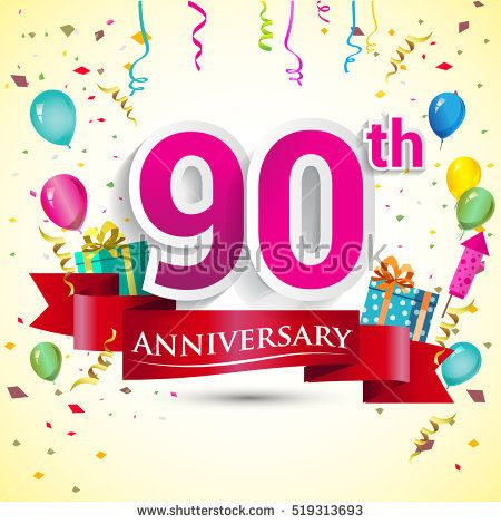 90th Years Anniversary Celebration Design, with gift box and balloons, red ribbon, Colorful Vector template elements for your birthday party.