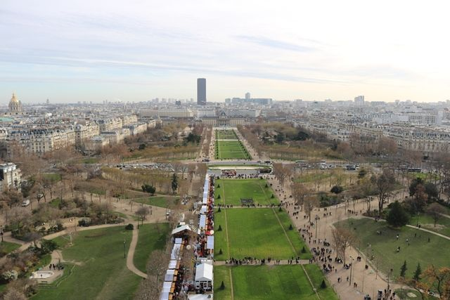 Champ de Mars view from the Eiffel Tower, Paris, France