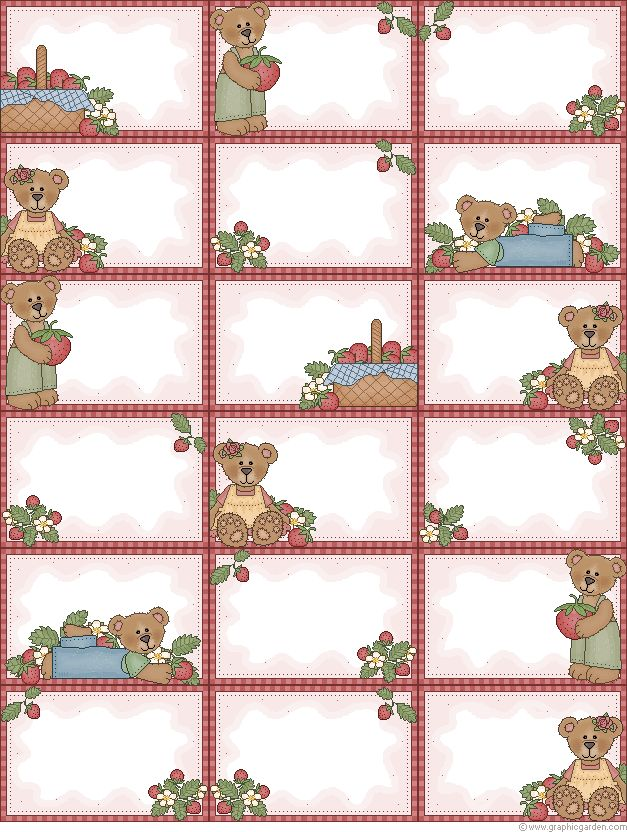 Free printable Strawberry Bears labels (& many more designs!) from Graphic Garden http://www.graphicgarden.com/files17/eng/print/reccard1.php