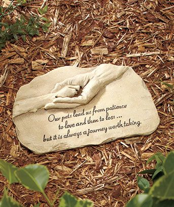 Memory Garden Ideas how to make cement hand planters for your garden Pet Memorial Garden Stones My Co Workers Gave Me This Exact Stone When My Dog