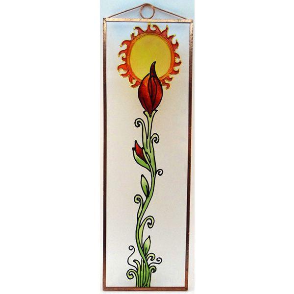 Futó virág Grafika: Navratil Zsuzsa üvegre kivitelezte: Kőrösi Andrea Mérete: 7,5 cm x 23,5 cm