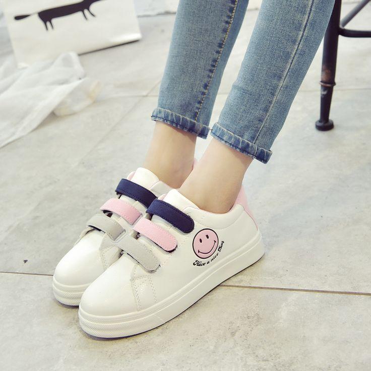 Корейская версия повседневной обуви обувь студент обувь кроссовки 2017 весной и осенью улыбка Velcro кроссовки обуви прилив Lynx -tmall.com