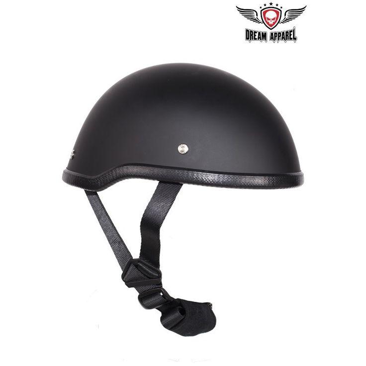 Flat Black Motorcycle Skull Cap Helmet