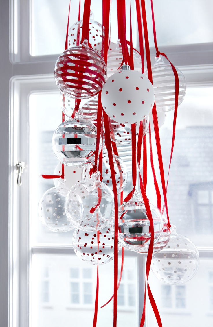christmas ornaments hanging from the window