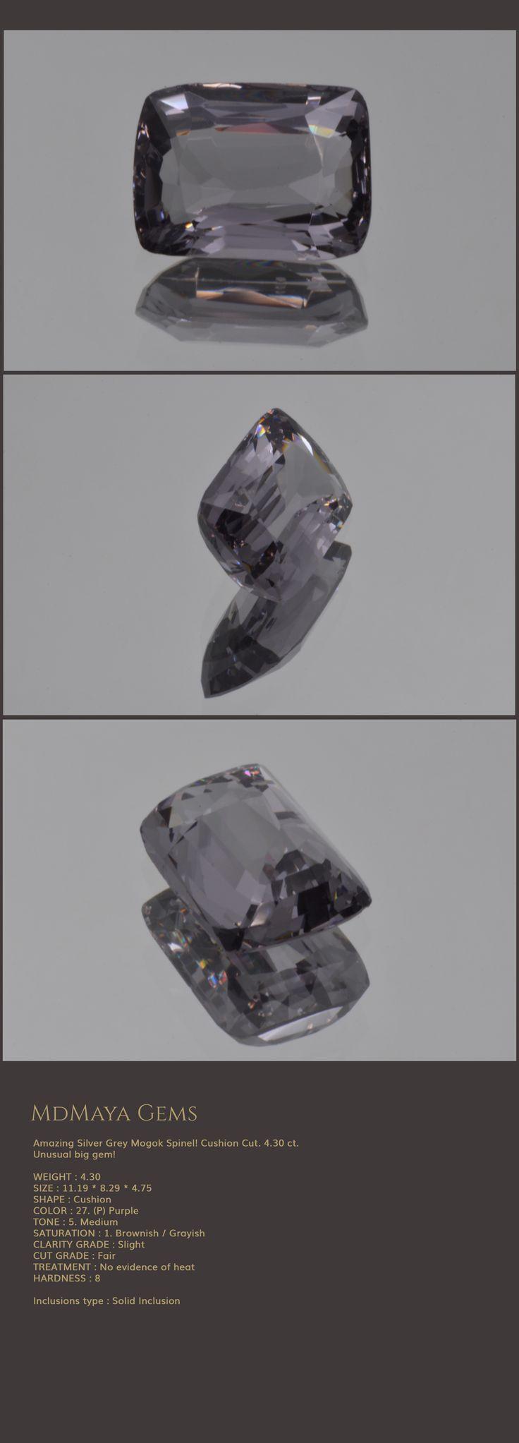 Amazing Silver Grey Mogok Spinel! Cushion Cut. 4.30 ct. Unusual big gem!  Loose Spinel Gemstones for sale MdMaya Gems