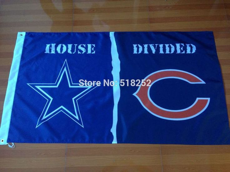 Dallas Cowbos and Chicago Bears HOUSE DIVIDED Flag 3x5 FT 150X90CM Banner 100D Polyester flag brass grommets 008, free shipping