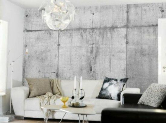 tapeten in betonoptik weiße Couch und ovaler Kaffeetisch