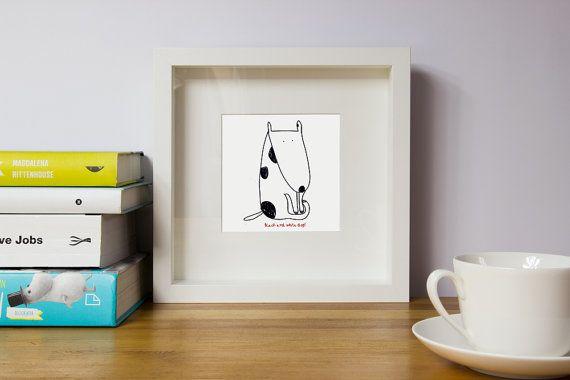 Dog nursery wall artBlack and white dog giftDog by illustation