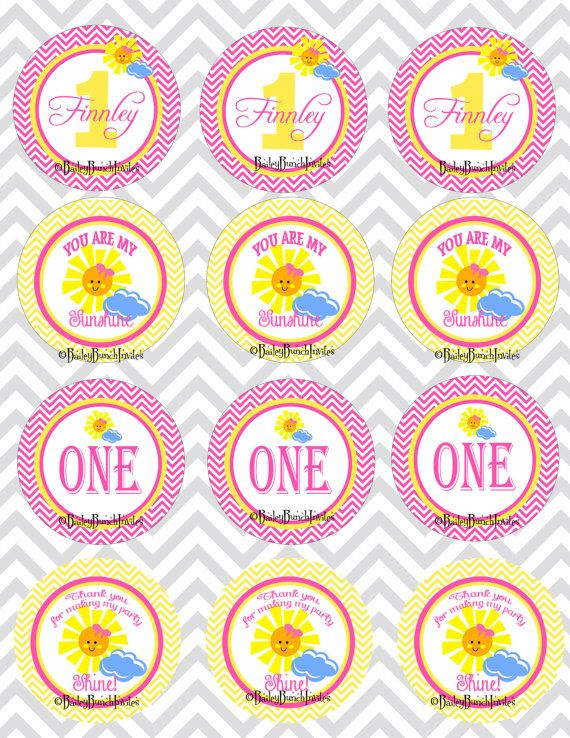 You are my Sunshine Cupcake Toppers Lolipop by BaileyBunchInvites