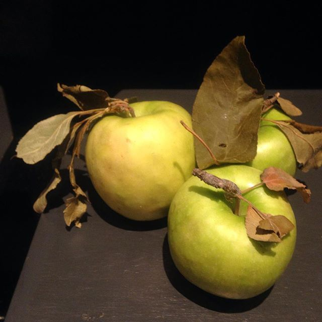Boy, really sure sucks to have to work around these filthy leaves and stems on these granny smith apples we snagged at the greenmarket this morning in February that are tartly and texturally perfect and don't get peeled for the raw apple sauce that goes with the crunchy potatoes avail at 6.