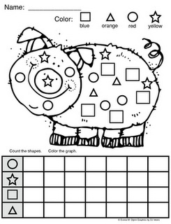 Free on TPT Kindergarten: Piggy Shape Graph