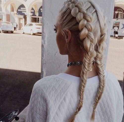 Blonde half french/half fishtail braids