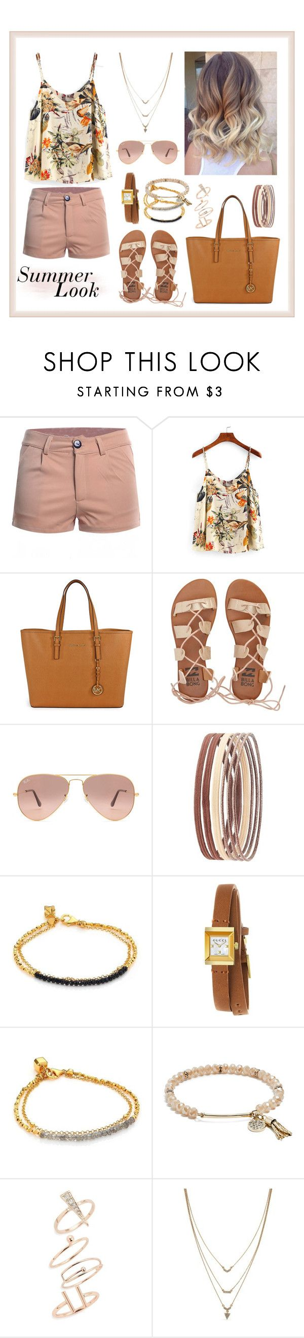 """My Summer Look"" by katymccord77 ❤ liked on Polyvore featuring WithChic, Michael Kors, Billabong, Ray-Ban, Charlotte Russe, Astley Clarke, Gucci, GUESS, Topshop and Jessica Simpson"