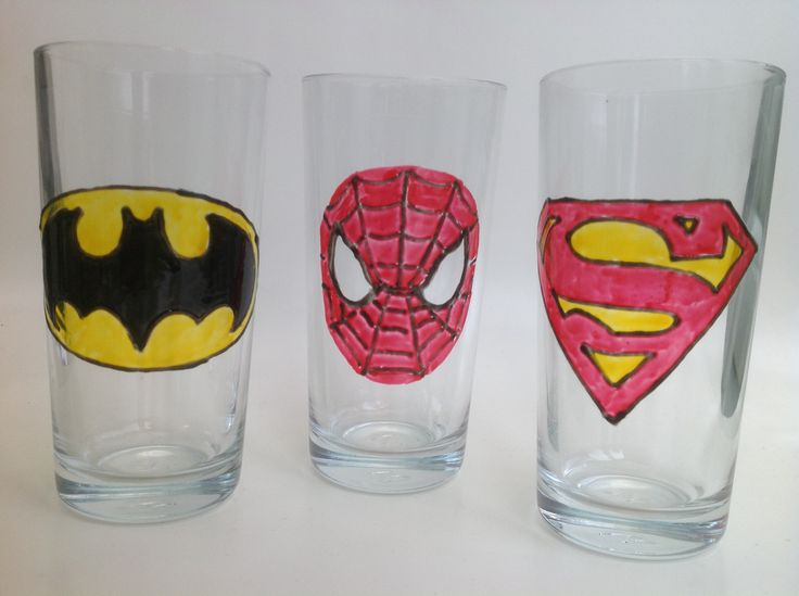 Hand Painted Super Hero Glasses - Batman, Spiderman and Superman.
