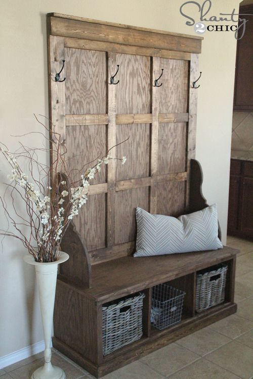 Shanty Hall Tree Bench for the Entryway...you can use an old door and build the bench from pallets!