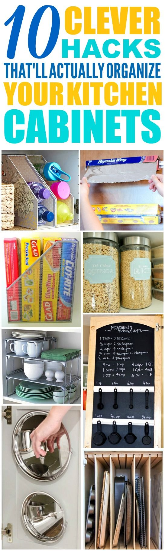 These 10 Clever Kitchen Cabinet Organization Hacks are THE BEST! I'm so glad I found these AMAZING tips! Now I have some great ways to keep my cabinets and kitchen clutter free, clean, and organized! Definitely pinning!