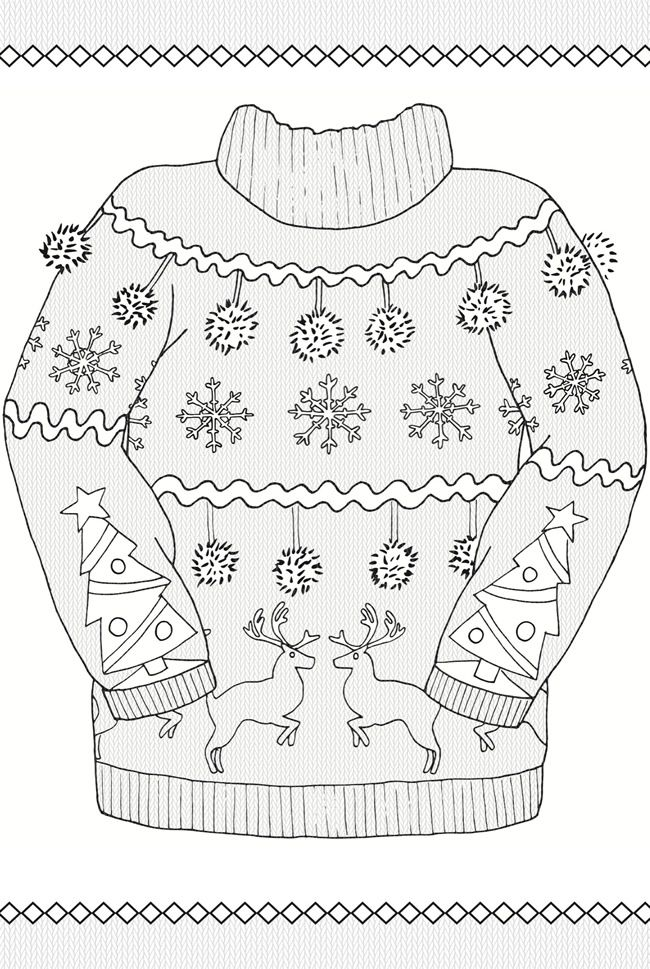 Creative Haven UGLY HOLIDAY SWEATERS Coloring Book By: Ellen Christiansen Kraft -  COLORING PAGE 1
