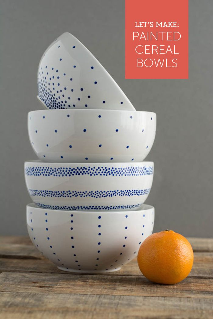 So easy! Paint a set of breakfast bowls in 4 simple patterns. Cute for Back to School!