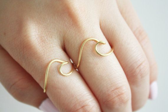 Wave Ring Set of 2// Wave ring Ocean ring Best by TheHumbleRing