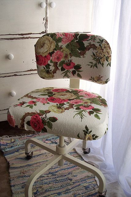 upcycle a desk chair with a floral tablecloth
