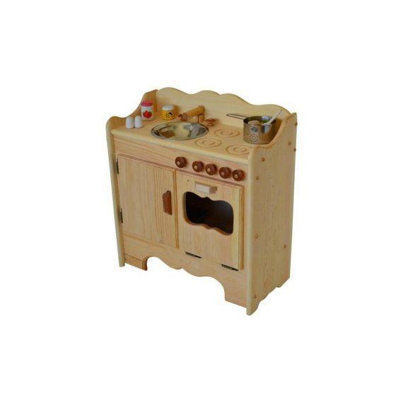 Natural Wooden Play Kitchen-Wooden Toy Kitchen Waldorf