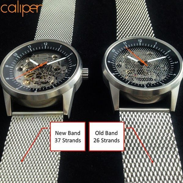 A side by side comparison of the old and new bands.  By increasing the number of steel threads we have achieved a smoother, cleaner texture.   #watch #watches #horology #automatic #timepiece #menswear #fashion #wristwatch #design #watchporn #watchaddict #watchoftheday #wristshot #watchnerd #fashionblogger #classy #mens #mensstyle #style #instawatches #handwound #dapper #photooftheday #watchuseek #automaticwatch #mechanicalwatch #skeletonwatch #skeletonized #affordablewatch