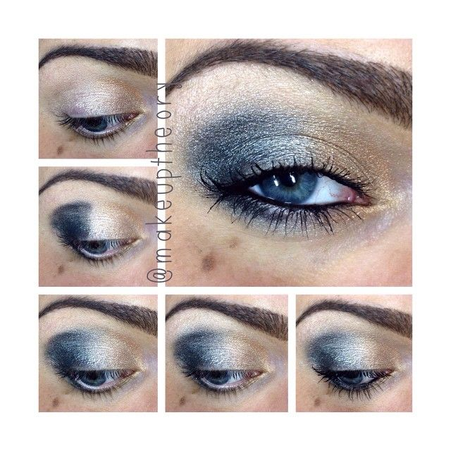Golden grey dual makeup #tutorial #maquiagem #evatornadoblog Серо-золотистый макияж - урок