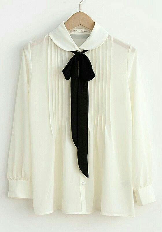 cute silk tie collar blouse for work   skirttheceiling.com