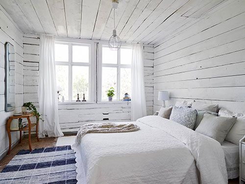 Swedish design white wooden bedroom