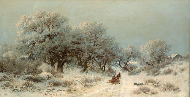 "Lev Kamenev (Russian, 1833-1886). ""Winter Landscape"" 
