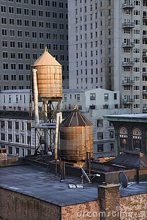 Rooftop Water Towers On Nyc Buildings New York Ny