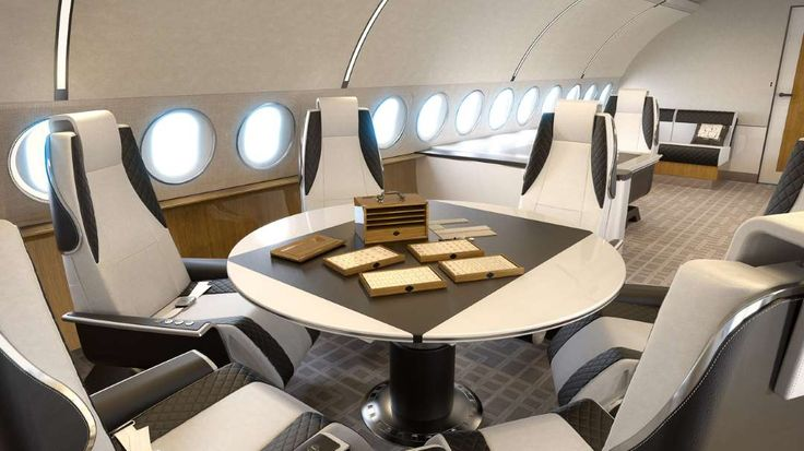 Inside the Most Luxurious Private Jets and What They Cost  -  February 16, 2017:      Airbus ACJ319 Elegance — Conference Dining:    If you're in the market for your first private jet, the Airbus ACJ319 Elegance makes it easy to customize your private plane with different  modules you can choose from. Boasting a roomy cabin, the ACJ319 has a galley and bathroom in the front of the plane, and a bedroom  and an en‐suite full bathroom in the rear.