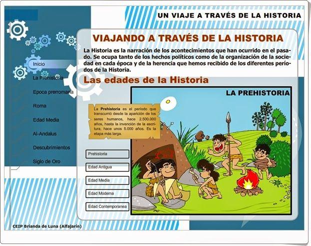 """""""Un viaje a través de la Historia""""(Aplicación interactiva de Ciencias Sociales de Primaria)"""